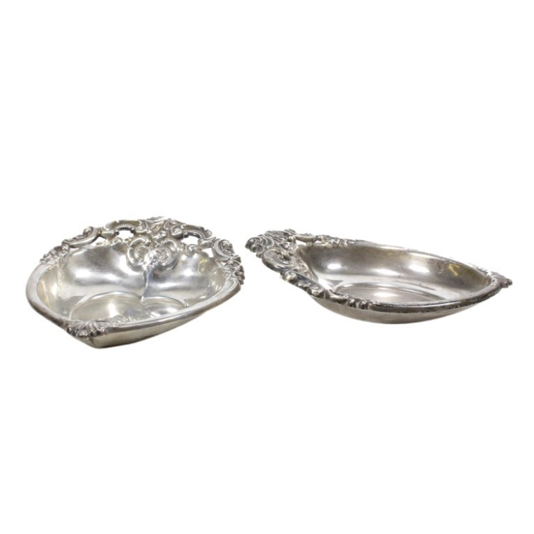 Pair Wallace Grande Baroque Sterling Dish Trays - 3