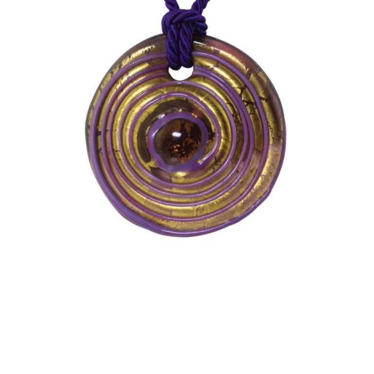 Painted Glass Pendant Necklace - 3