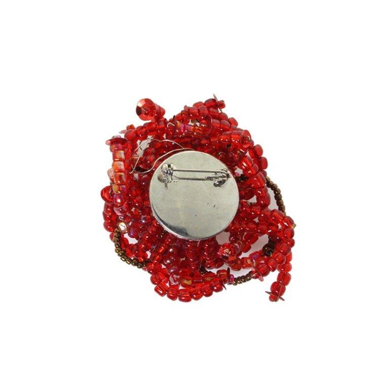 Vintage Beaded Wire Flower Pin Brooch - 2
