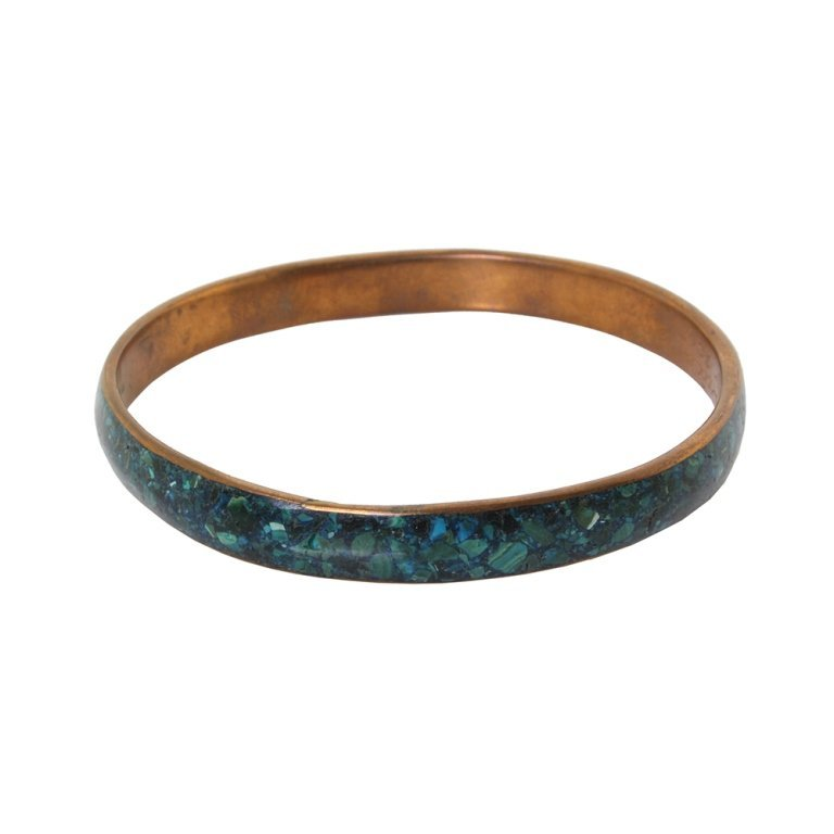 Copper Bangle with Crushed Turquoise