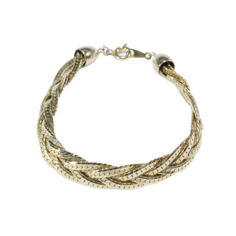 Gold Tone 5 Strand Braid Bracelet