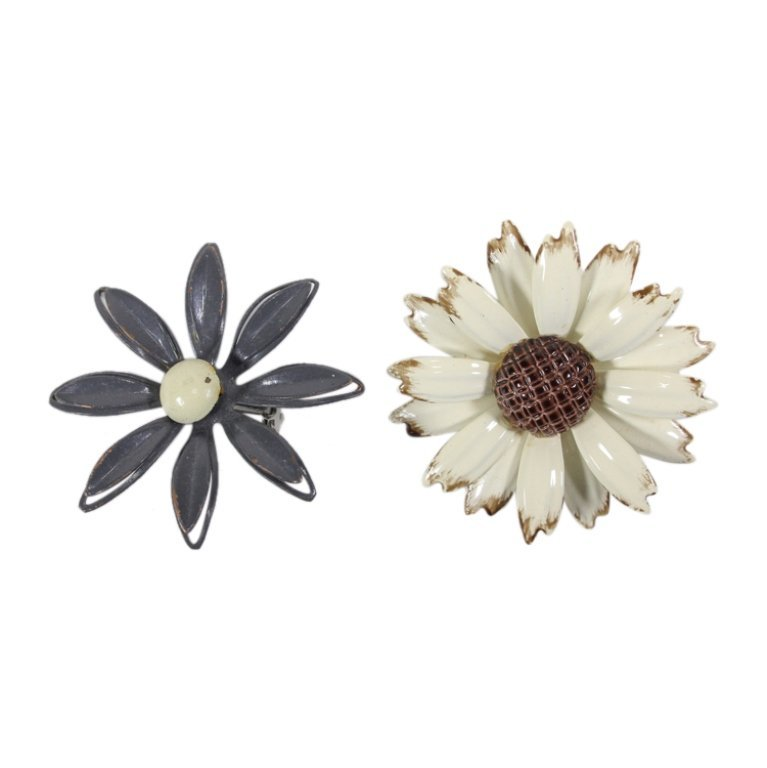 Vintage Pair Enamel Floral Pin Brooches