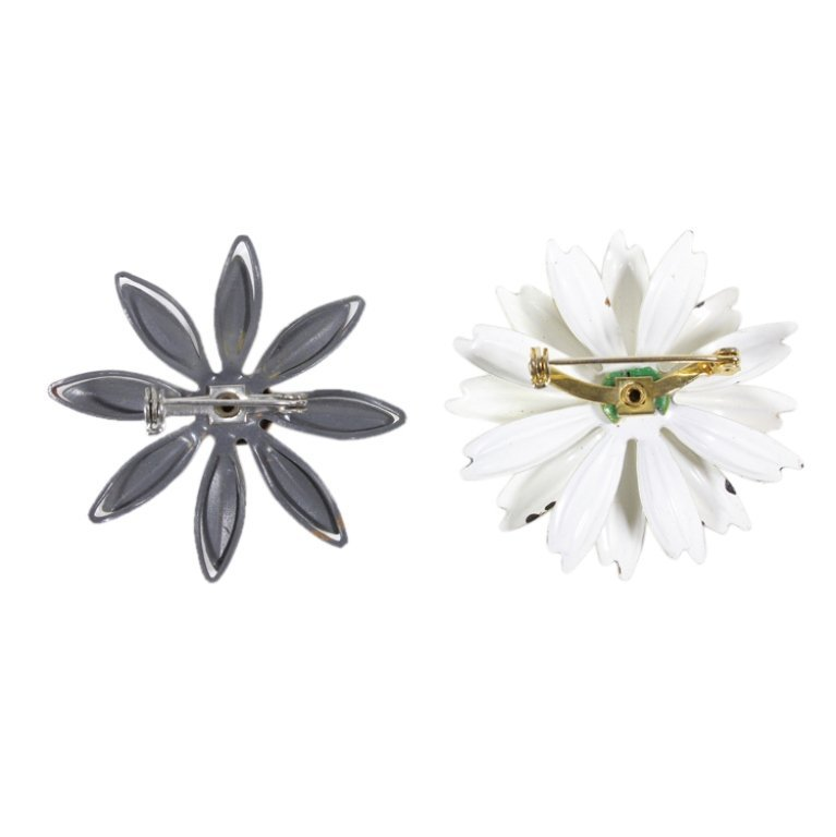 Vintage Pair Enamel Floral Pin Brooches - 2