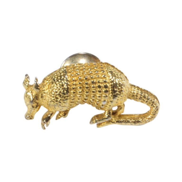 Gold Tone Armadillo Lapel Pin Tie Tack