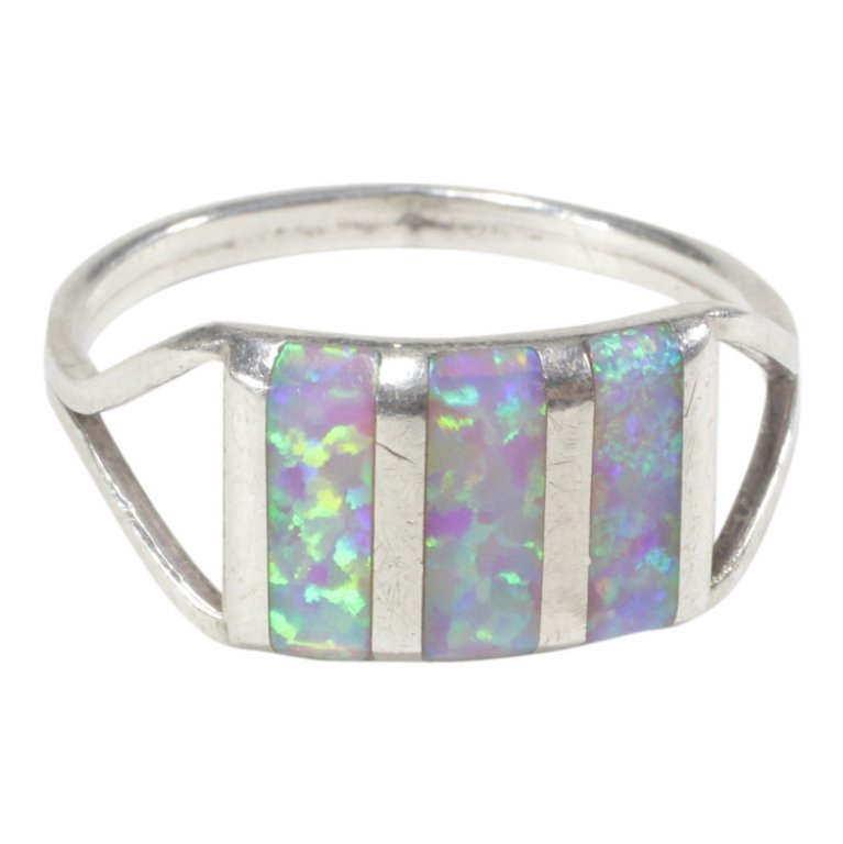 Simulated Opal Inlay Split Band Ring