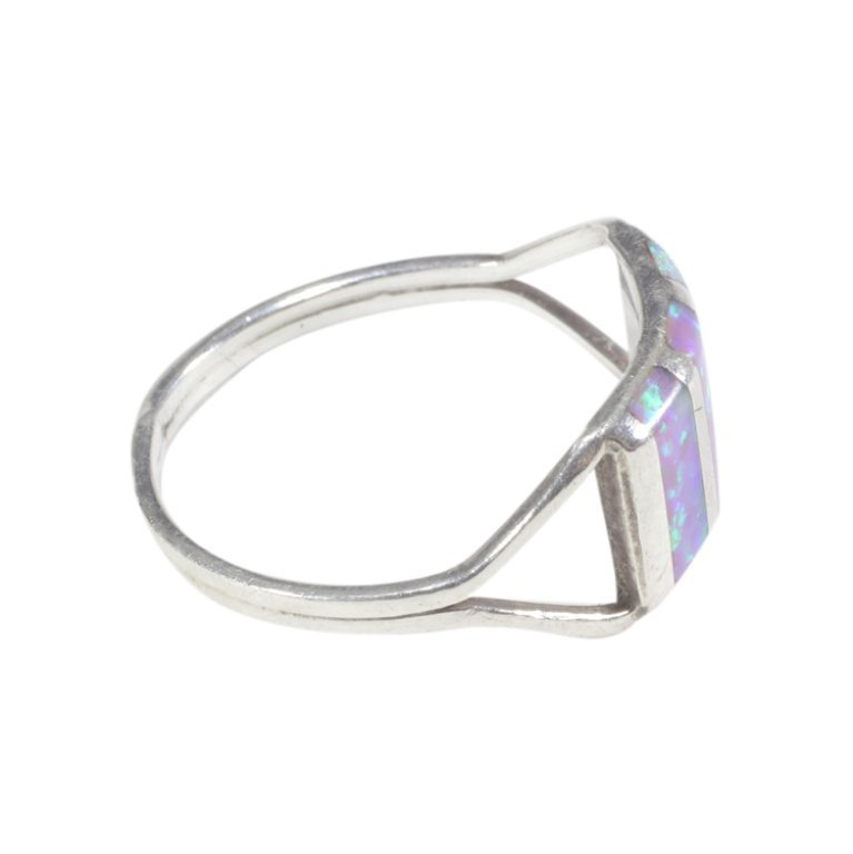 Simulated Opal Inlay Split Band Ring - 2