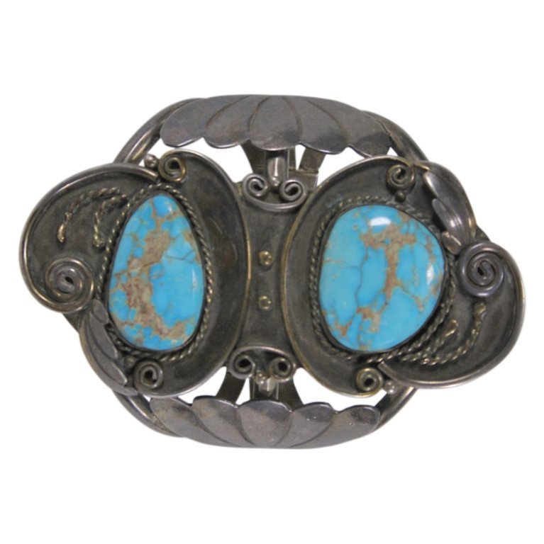 Mixed Sterling & Silver Tone Metal Turquoise Cuff