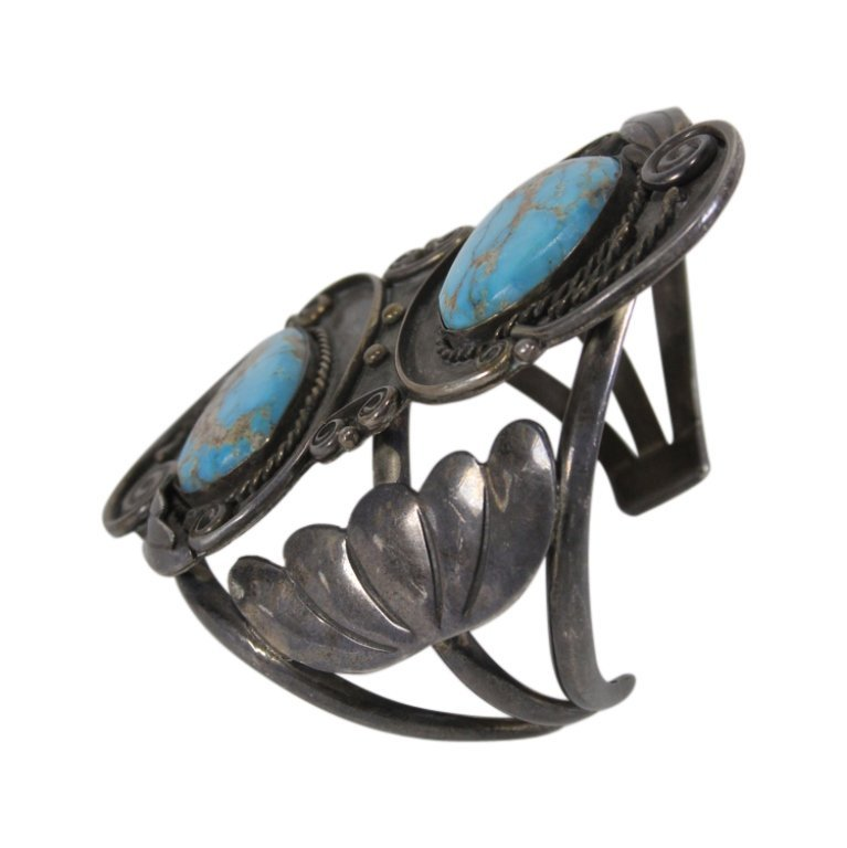 Mixed Sterling & Silver Tone Metal Turquoise Cuff - 2