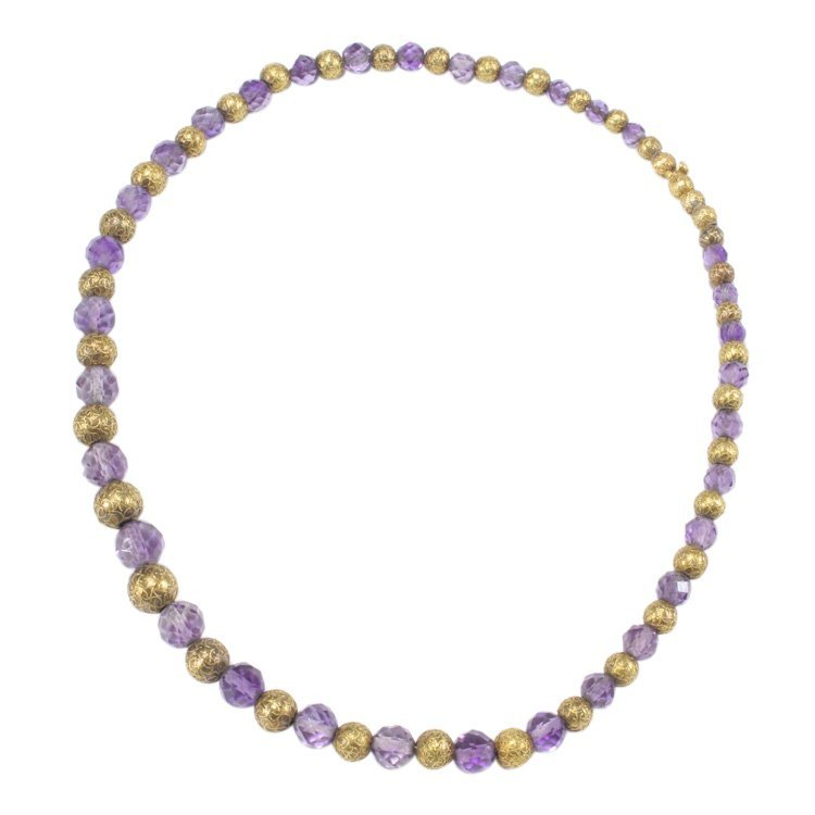 Vintage 14K Gold and Purple Beaded Necklace