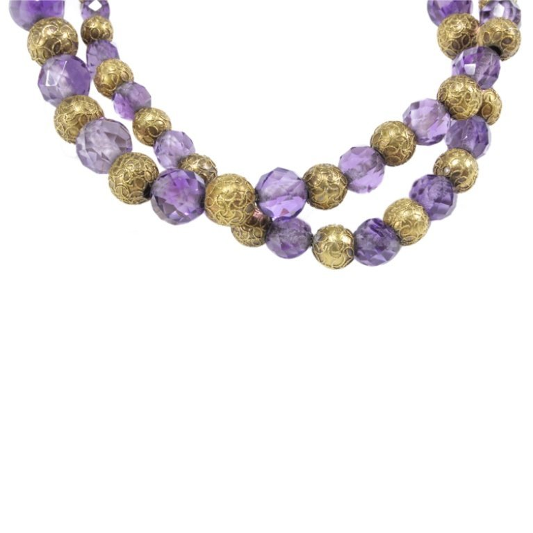 Vintage 14K Gold and Purple Beaded Necklace - 2