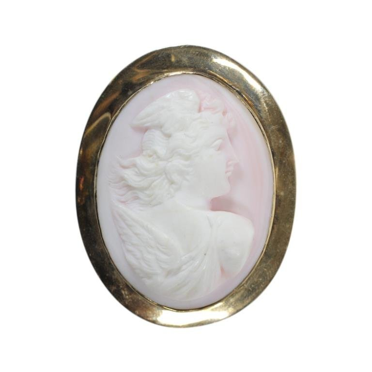 14k Gold Cameo Pin Brooch