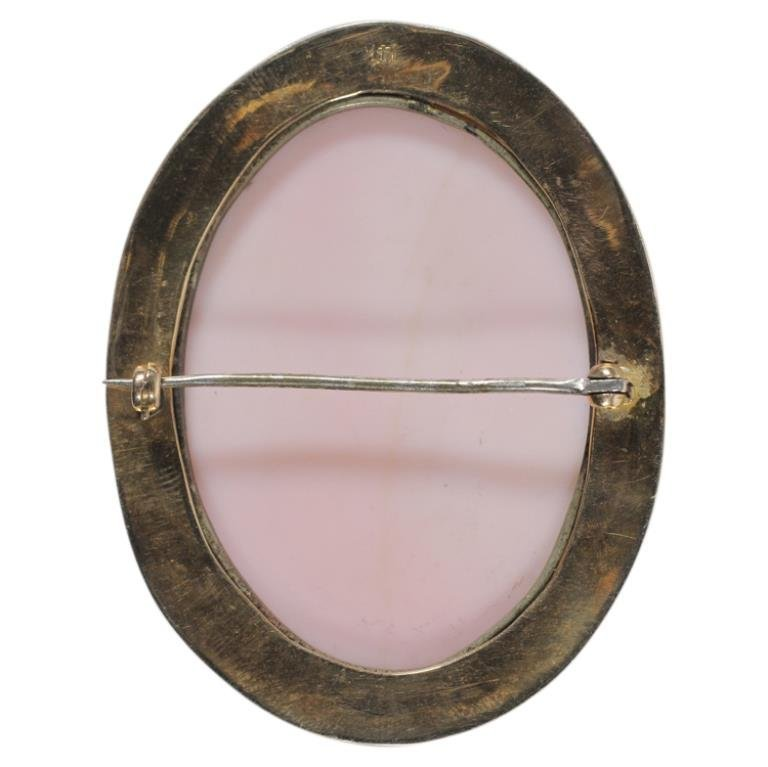 14k Gold Cameo Pin Brooch - 2