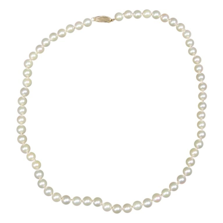 14k & Pearl Strand Necklace Mikimoto Blue Lagoon