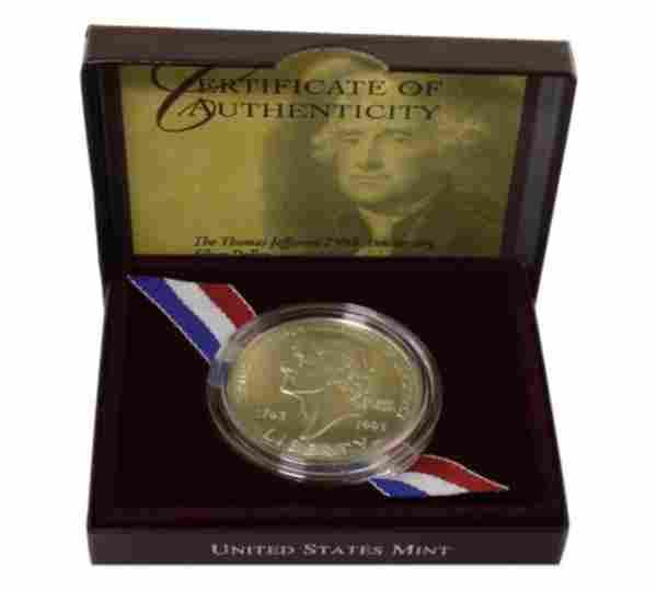 1993 Thomas Jefferson 250th Anniversary Silver
