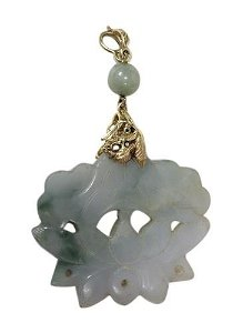 Large Jade Pendant with 18k Gold