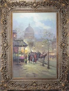 Original Oil on Canvas Capitol Street Scene