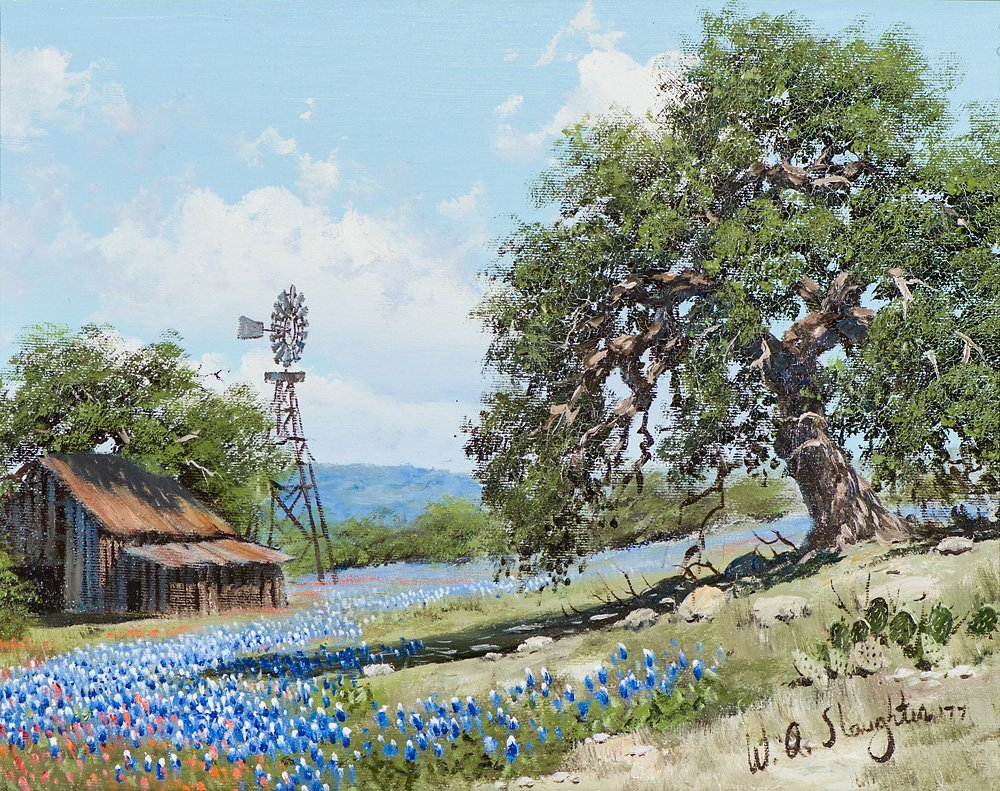 William Slaughter  'Ranch Scene with Blue Bonnets'