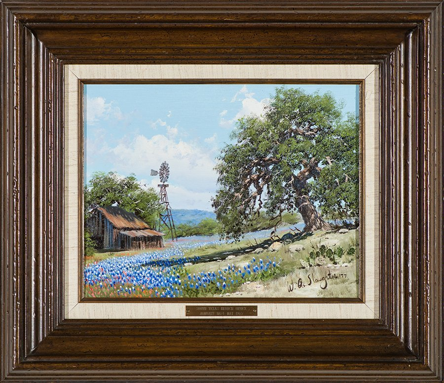 William Slaughter  'Ranch Scene with Blue Bonnets' - 2