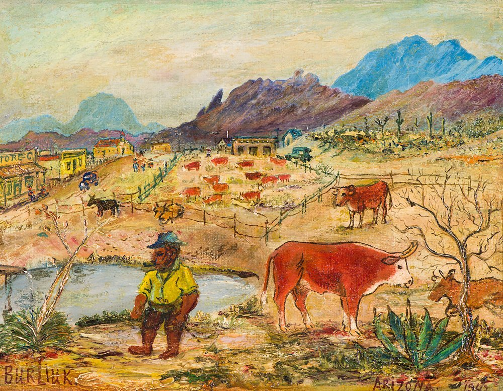 David Burliuk  'Corral in Arizona'
