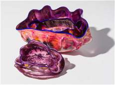 Dale Chihuly Macchia Set with Cobalt Blue Lip Wraps