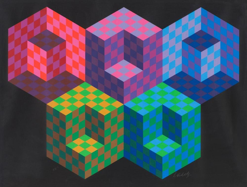 Victor Vasarely Hexa 5 (from the Official Arts...)
