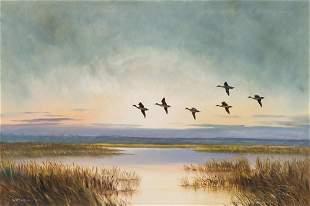 William Robert Thrasher  Marsh Landscape with Birds