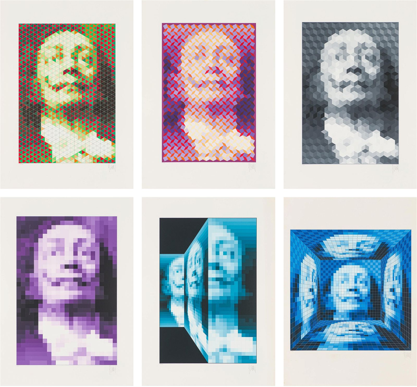 Yvaral (Jean-Pierre Vasarely) (6) Faces of Dalí, 1977