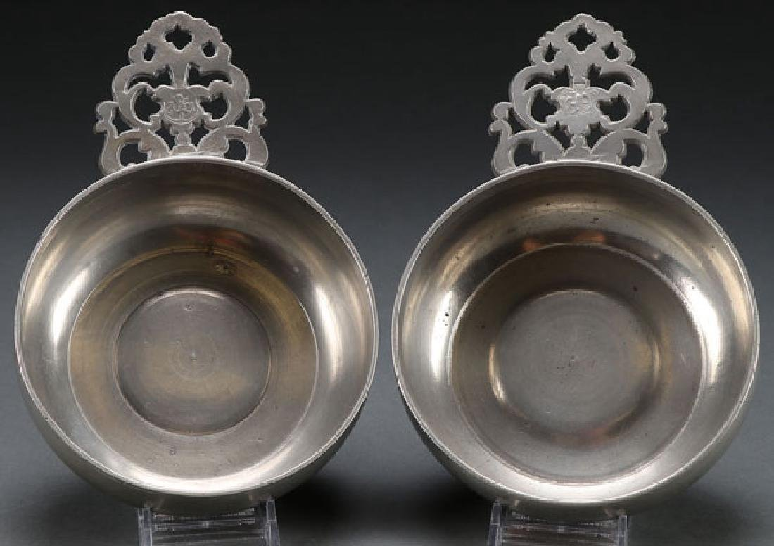 TWO  COLONIAL AMERICAN PEWTER PORRINGERS