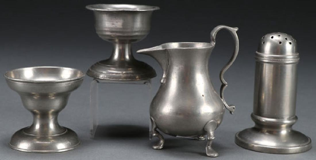 4 PC AMERICAN AND GEORGIAN PEWTER