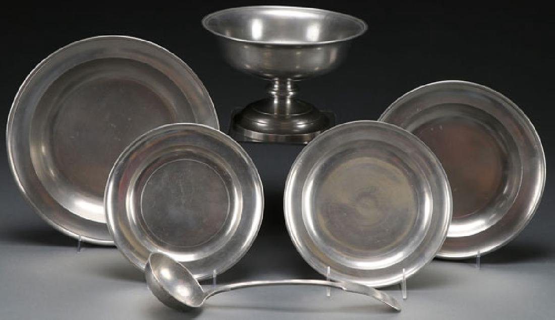 5 PC EARLY AMERICAN PEWTER