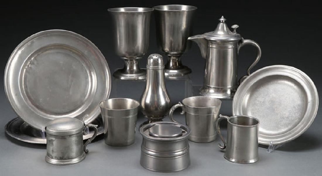 12 EARLY AMERICAN PEWTER ARTICLES
