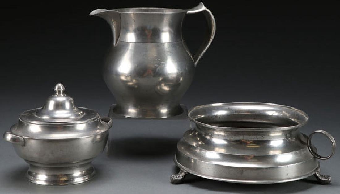 A THREE PIECE GROUP OF EARLY AMERICAN PEWTER
