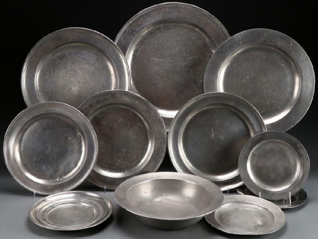 11 PC GROUP OF ENGLISH PEWTER PLATES