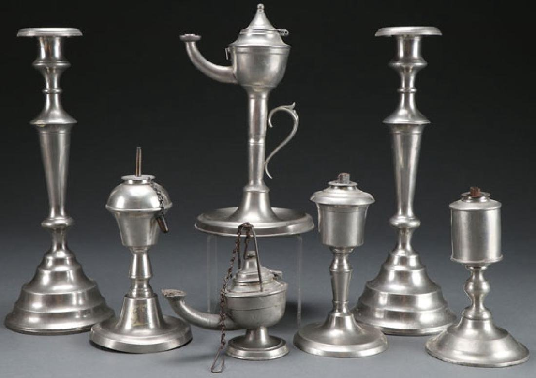 7 AMERICAN PEWTER LIGHTING PIECES