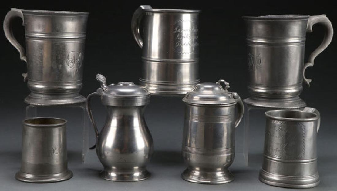 7 GEORGIAN PEWTER TANKARDS AND MEASURES