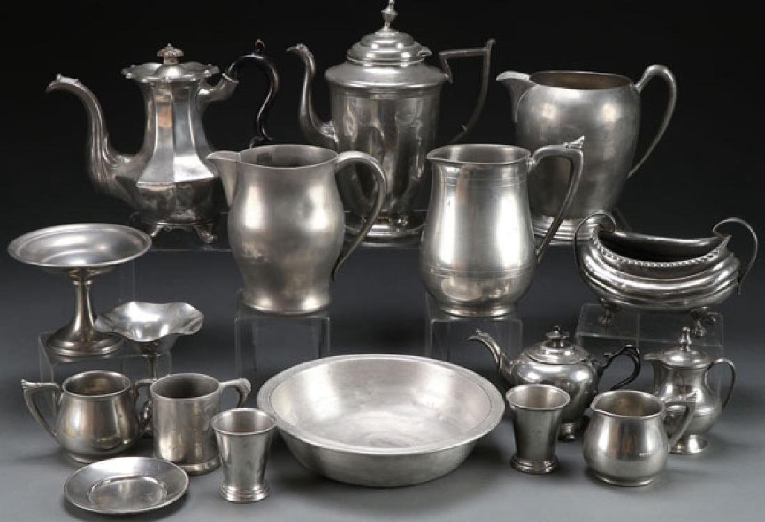 A TWENTY PIECE GROUP OF MOSTLY AMERICAN PEWTER