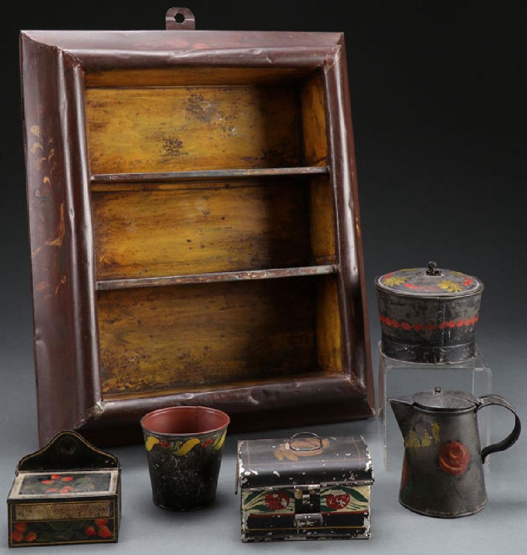 A GOOD COLLECTION OF 19TH CENTURY TOLEWARE