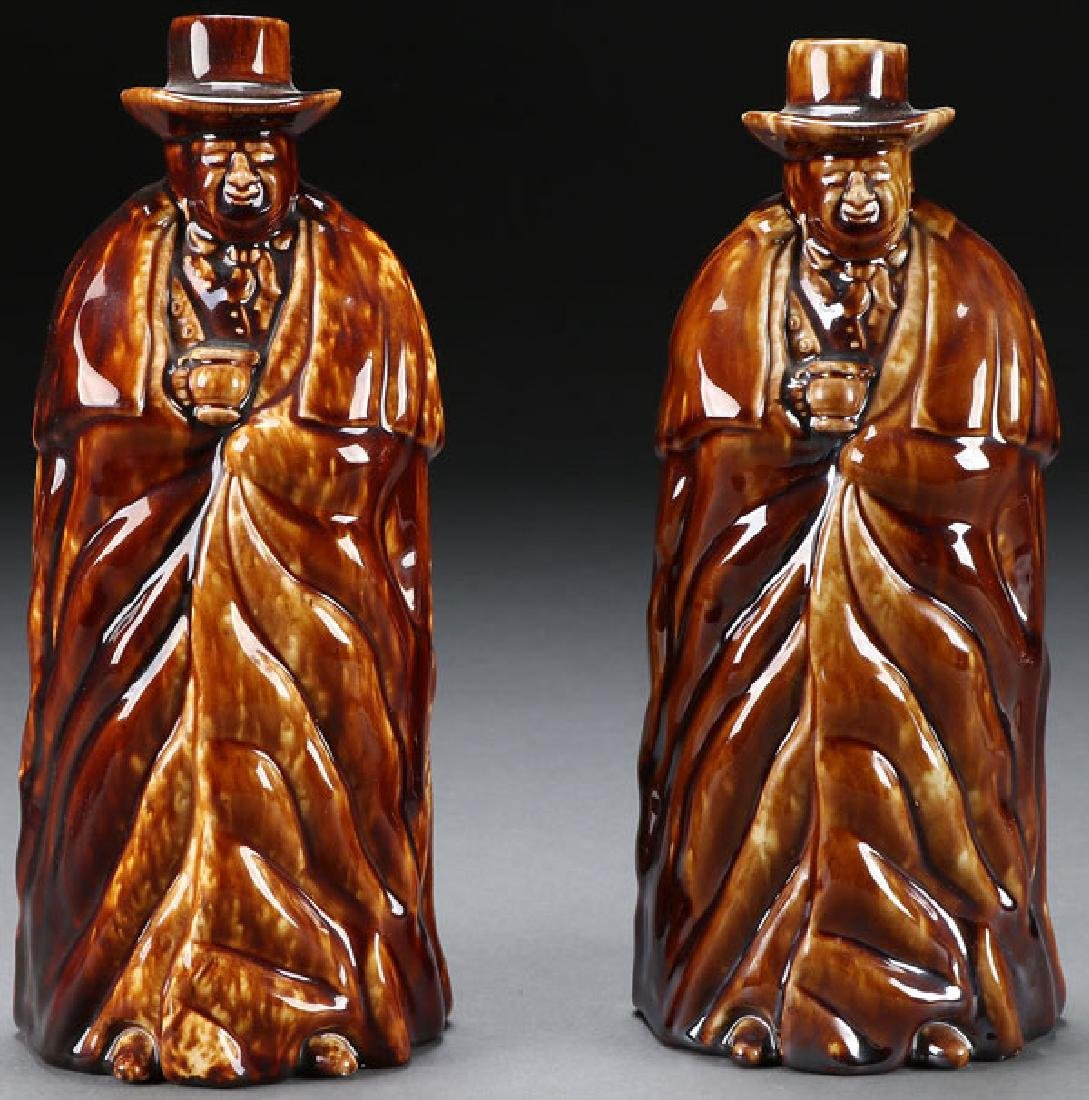 2 BENNINGTON GLAZED COACHMAN BOTTLES