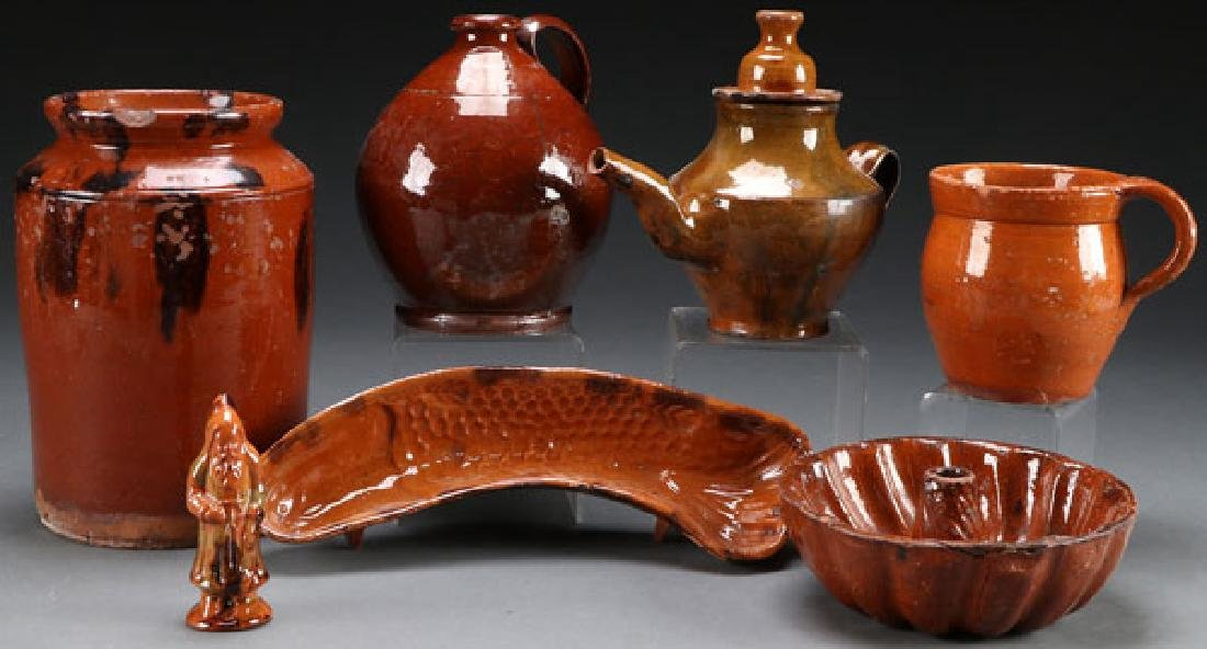 A SIX PIECE GROUP OF 19TH CENTURY GLAZED REDWARE