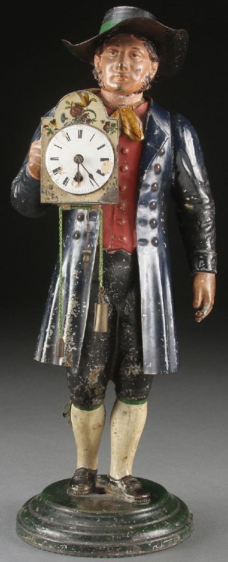19TH CENTURY TOLE PAINTED FIGURAL CLOCK