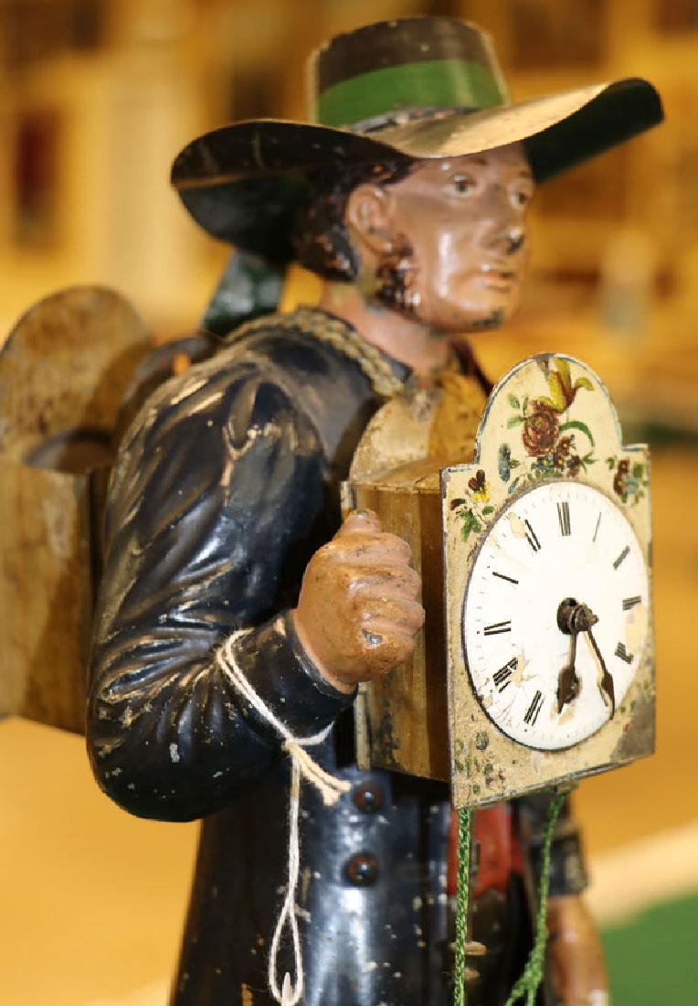 19TH CENTURY TOLE PAINTED FIGURAL CLOCK - 2
