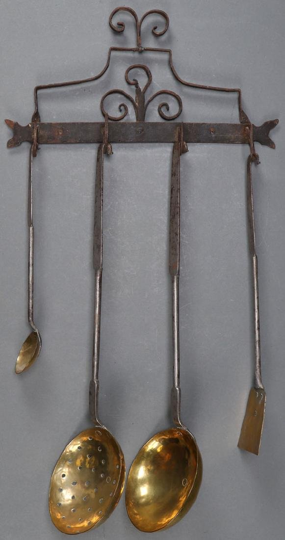 A GROUP OF FIVE AMERICAN BRASS AND IRON ARTICLES