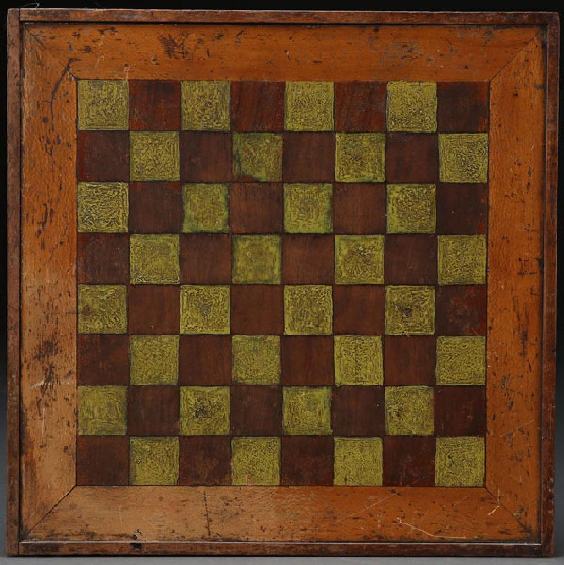 AN AMERICAN PAINTED WOOD GAMEBOARD