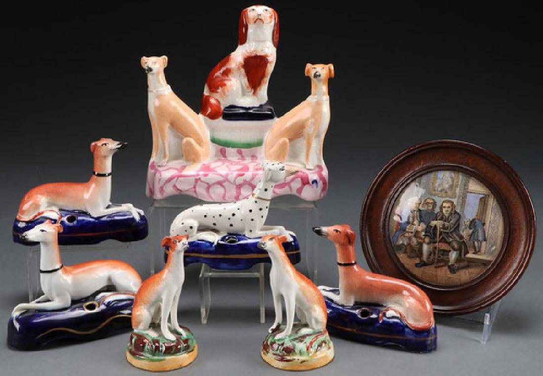 8 ENGLISH STAFFORDSHIRE FIGURES, MID 19TH C