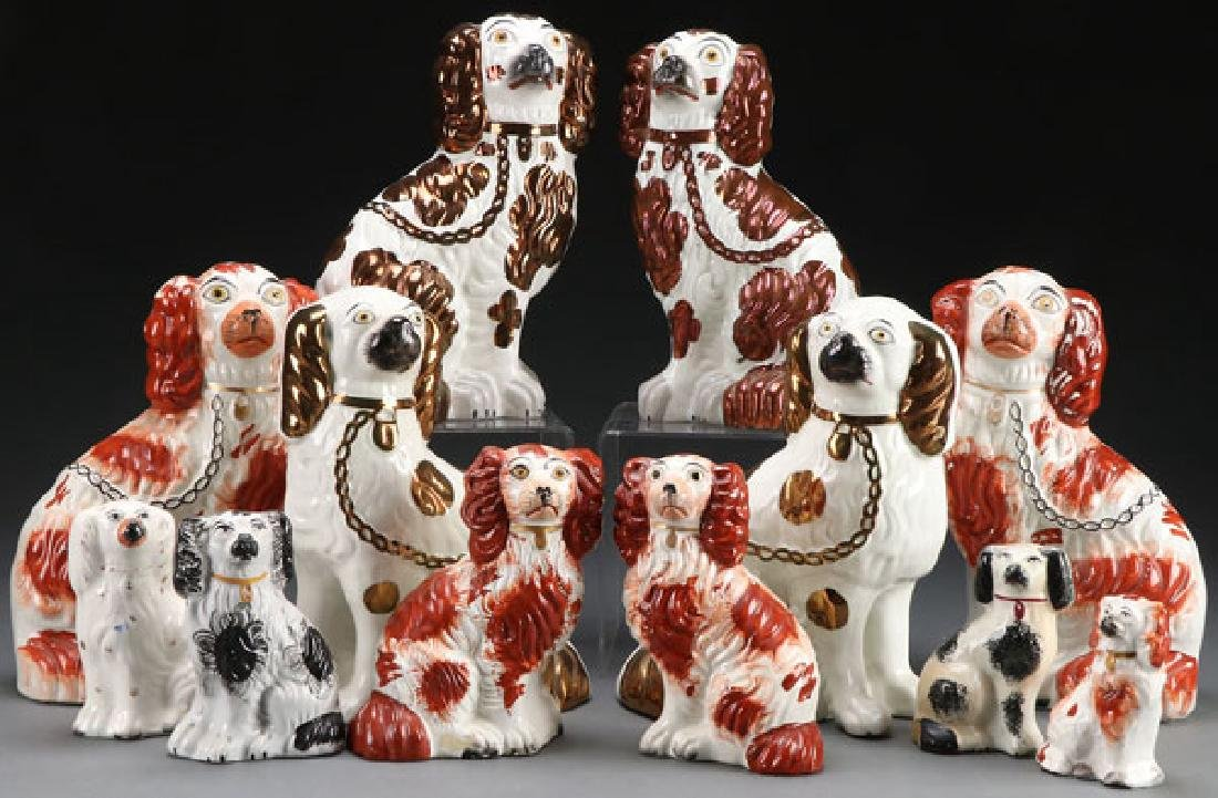 A COLLECTION OF TWELVE STAFFORDSHIRE SPANIELS