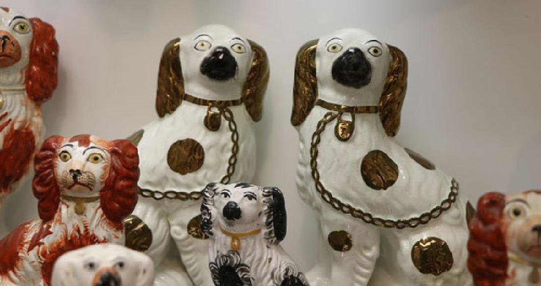 A COLLECTION OF TWELVE STAFFORDSHIRE SPANIELS - 3