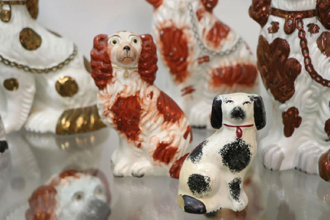 A COLLECTION OF TWELVE STAFFORDSHIRE SPANIELS - 6
