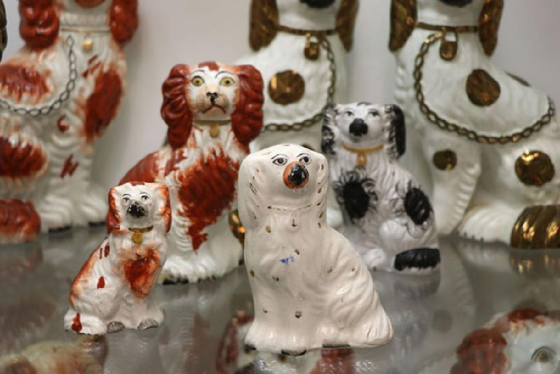 A COLLECTION OF TWELVE STAFFORDSHIRE SPANIELS - 7