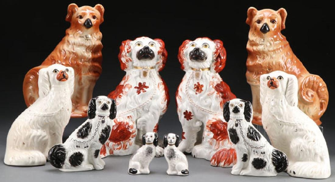 A FINE GROUP OF TEN STAFFORDSHIRE DOGS