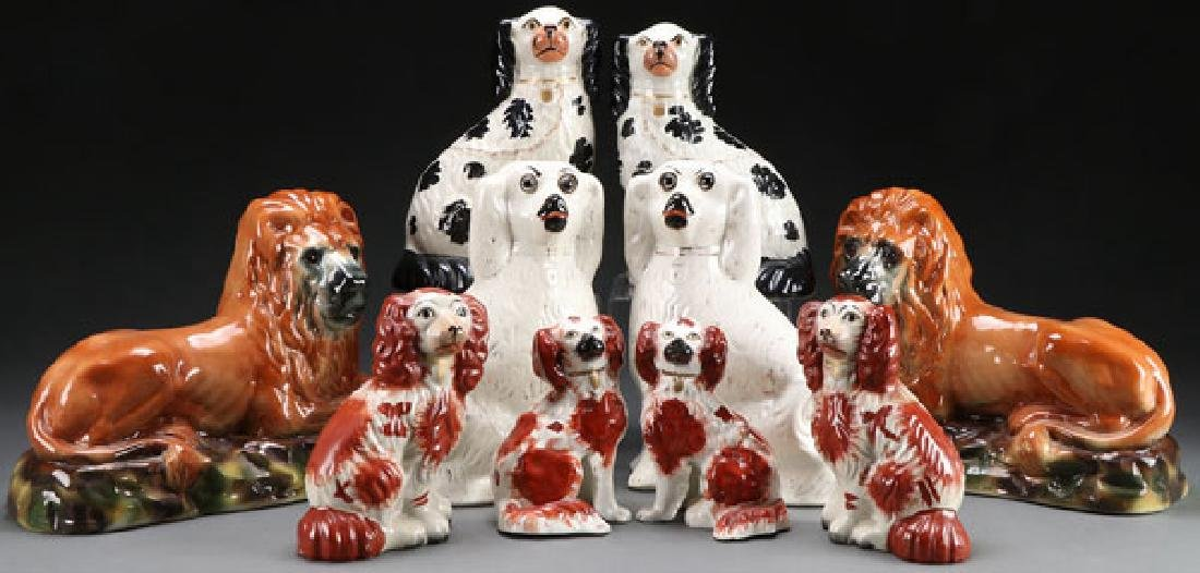 8 STAFFORDSHIRE SPANIELS AND LIONS